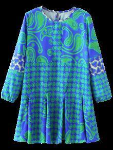 Long Sleeve Paisley Print Dress - Blue S