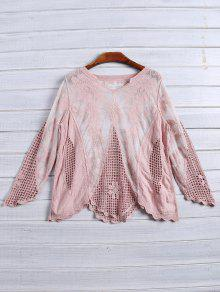 Long Sleeves Sheer Crochet Lace Top - Pink