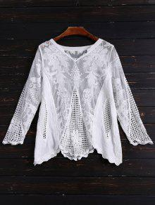 3a0837325c9738 27% OFF  2019 Long Sleeves Sheer Crochet Lace Top In WHITE
