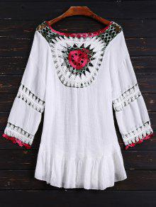 Crochet Bib Cover Up Dress - White