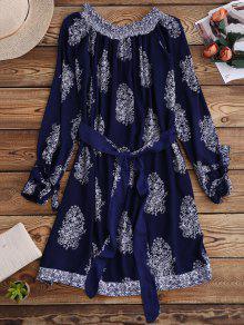 Printed Off Shoulder Belted Dress - Purplish Blue S