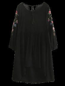 Alta Baja Floral Vestido De Delantal Bordado - Negro M