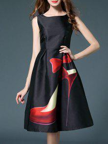 High Heels Imprimer Haut Robe évasée Taille - Noir Xl