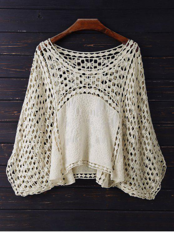 ladies Crochet Dolman Top - BEIGE ONE SIZE