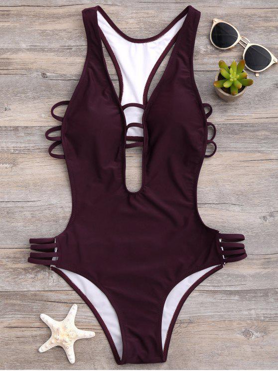 women's High Cut One-Piece Swimwear - WINE RED M