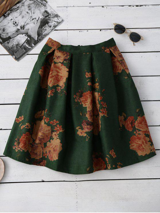 trendy Flower Knee Length A-Line Skirt - GREEN ONE SIZE
