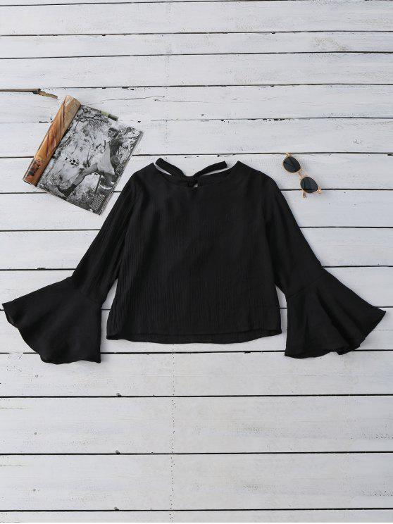 women's Tied Flare Sleeve Linen Blouse - BLACK S