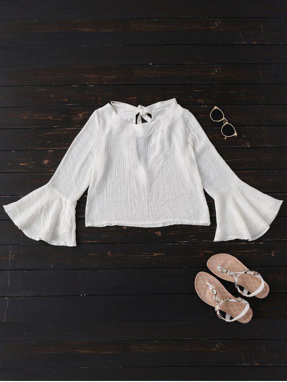 best Tied Flare Sleeve Linen Blouse - WHITE S