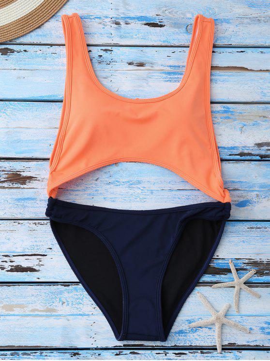 Bañador Escotado con Color Bloque - Naranja L