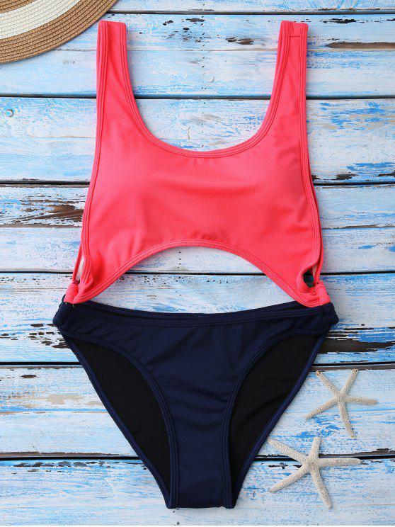fancy Color Block Cut Out Swimwear - RED M