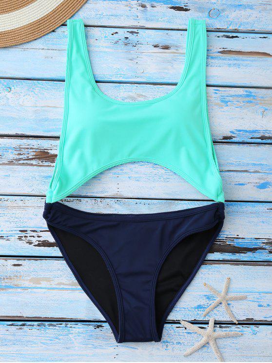 fashion Color Block Cut Out Swimwear - BLUE XL