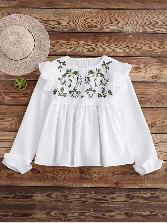 best Leaf Embroidered Ruffle Smock Top - WHITE M