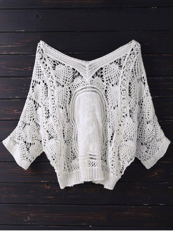 hot V Neck Crochet Batwing Cover Up - OFF-WHITE ONE SIZE