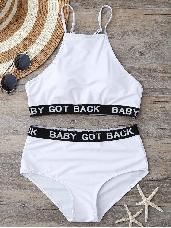 womens High Neck High Waisted Bikini - WHITE L