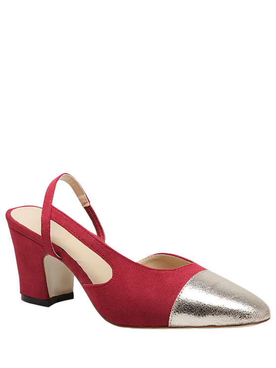 new Slingback Color Block Chunky Heel Pumps - RED 38