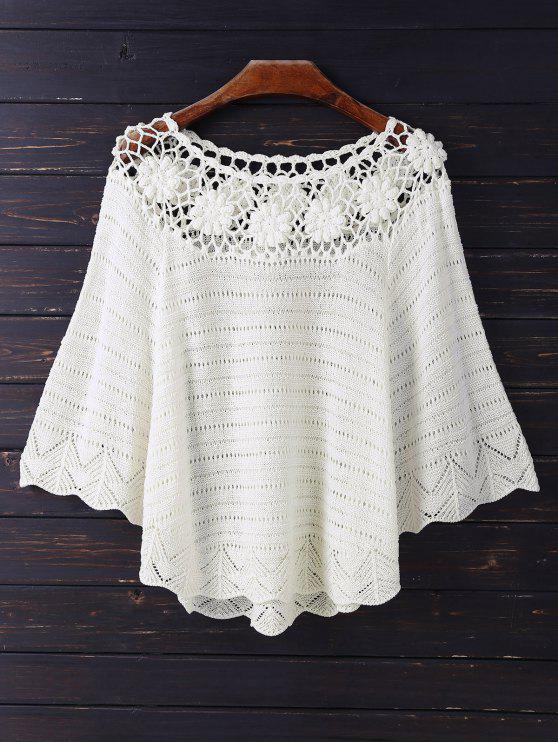 best Crochet Flower See Thru Dolman Top - BEIGE ONE SIZE