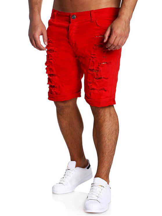 شورت بسحاب مهترئ مستقيم - أحمر XL