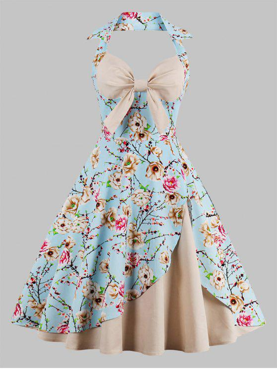 fe6985b128a4f 29% OFF] 2019 Plus Size Halter Floral Print Vintage Pin Up Dress In ...