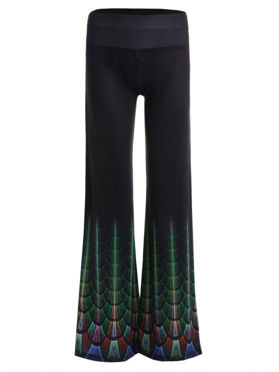 Impresso elevados da ascensão calças de pernas largas - Preto 2XL