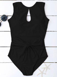 Keyhole Bowknot Swimwear - Black M