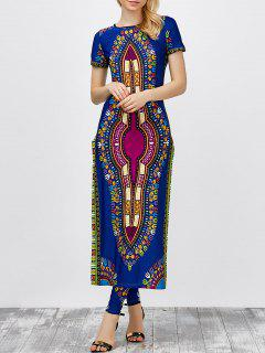 High Slit Africa Print Robe Dress With Pants - Cerulean Xl