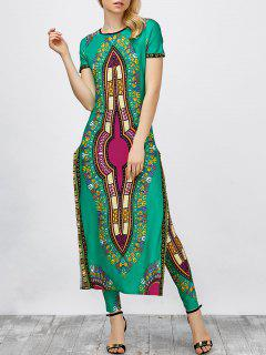 High Slit Africa Print Robe Dress With Pants - Green Xl