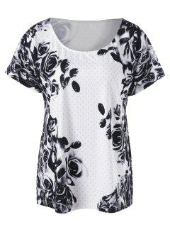 Plus Size Floral T-Shirt - White And Black 5xl