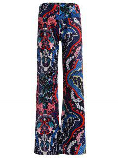 Elastic Waist Ornate Print Wide Leg Pants - M