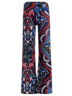 Taille Haute Ornement Imprimer Pantalon Large - L