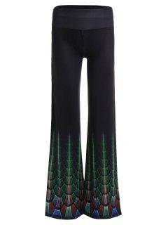 Print High Waist Wide Leg Pants - Black Xl