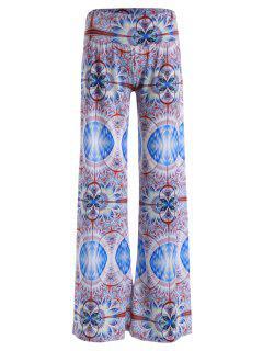 Resumen De Impresión Elástico De La Cintura De Los Pantalones De Pierna Ancha - Morado Claro S