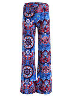 Elastic Waist Paisley Print Wide Leg Pants - Blue M