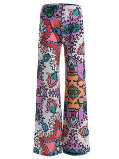 High Rise Allover Print Wide Leg Palazzo Pants - 2xl