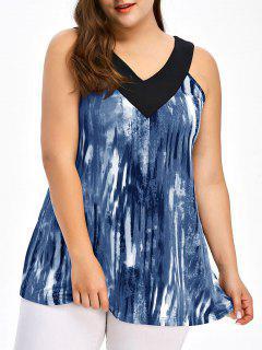 Top Camiseta Sin Mangas Talla Extra Grande Cuello V Lazo Teñido  - Azul 4xl