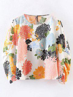 Chrysanthemum Print Blouse - White M