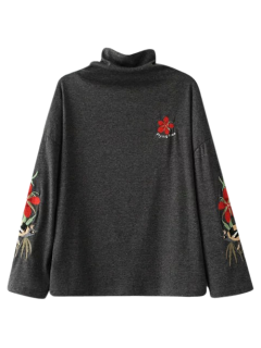 High Neck Embroidered Top - Black Grey M