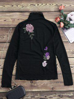 Floral Embroidered Mesh Sheer Tee - Black M