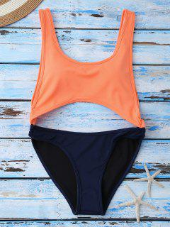 Color Block Cut Out Swimwear - Orange S