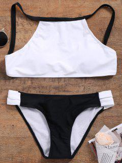Cutout Color Block Bikini Set - White L