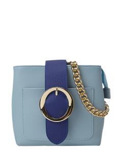 Buckle Strap Chains Cross Body Bag - Light Blue