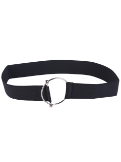 Round Metallic Buckle Elastic Stretch Belt - Black