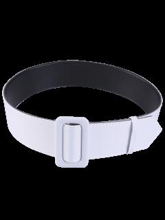 Fabric Panel PU Leather Belt - White