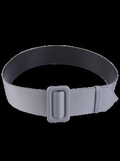 Fabric Panel PU Leather Belt - Gray