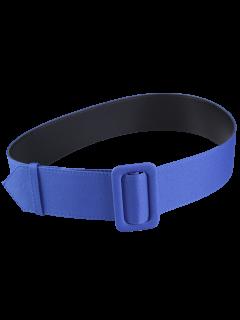 Fabric Panel PU Leather Belt - Blue