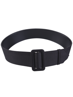 Fabric Panel PU Leather Belt - Black