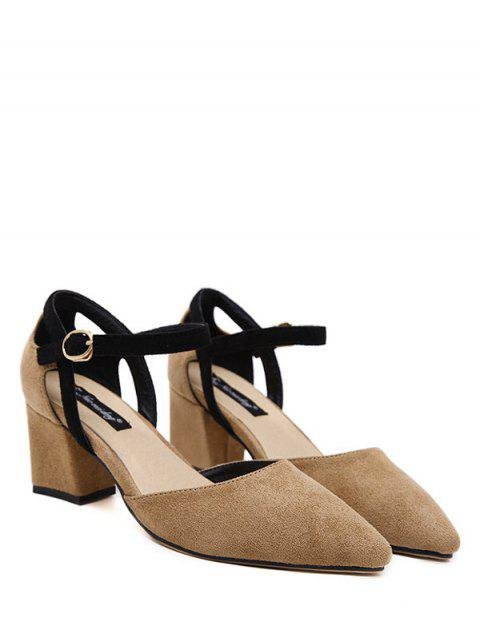 womens Pointed Toe Suede Chunky Heel Pumps - KHAKI 37 Mobile