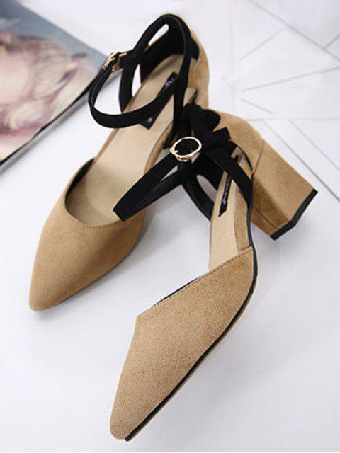 women Pointed Toe Suede Chunky Heel Pumps - KHAKI 38 Mobile