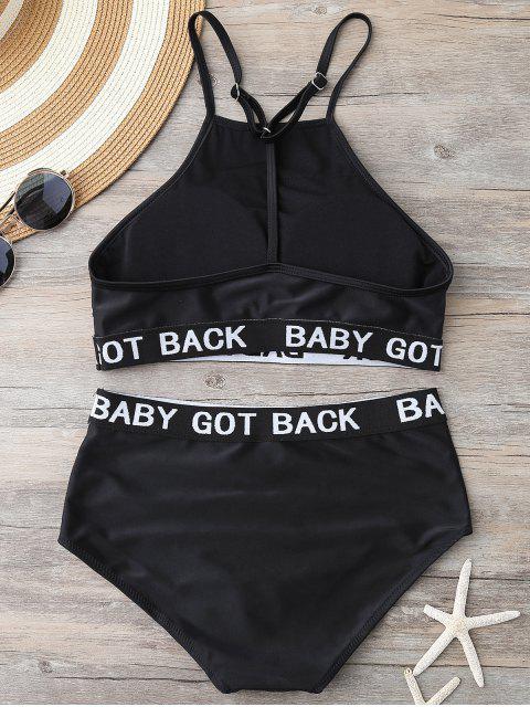 latest Graphic High Waisted Bikini - BLACK S Mobile