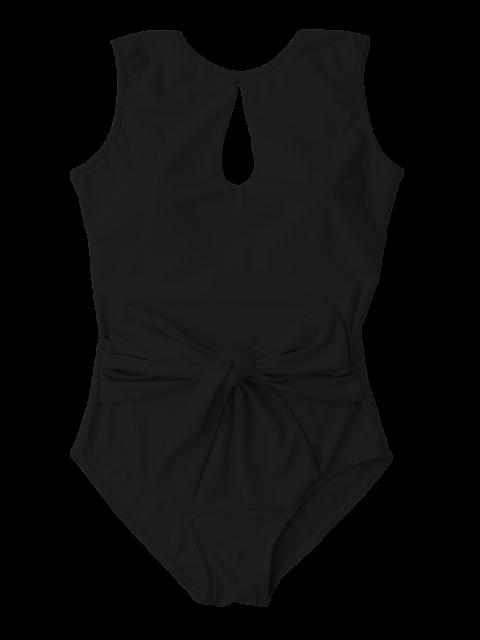 Maillot de bain avec mini-incision et arc-nœud - Noir S Mobile