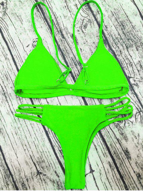 chic Padded Cami Bikini Set - GRASS GREEN S Mobile